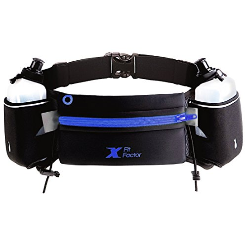 Running Hydration Belt by X Fit Factor – Adjustable Fuel Belt with Two BPA-free 10 Ounce Water Bottles for Runners Women and Man - Fits iPhone 6, 7 Plus – - Triathlon Plus Gear Size