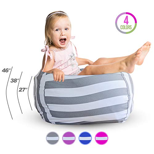 Kids Storage Bean Bag Chair - Bean Bag for Stuffed Animal Storage - Bean Bag Kids Chair - Canvas Bean Bag Dual Purpose Storage and Couch - 2-in-1 Couch and Toy Storage Bag (Grey, 46