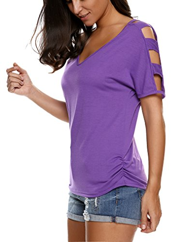 - Sherosa Women's Summer V Neck Plus Size Off-Shoulder Loose Blouse Tops (XXL, Purple)