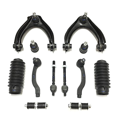 PartsW 12 Piece Suspension Kit for Honda Civic Si & Non Si 1996-2000, Inner & Outer Tie Rod Ends, Lower Ball Joints, Control Arms, Sway Bars and Rack and Pinion Boots