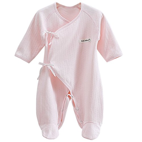 Happy Cherry Unisex-Baby Cotton Gloved-Sleeve Footed Overall Medium Pink
