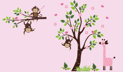 Animals Wall Jungle Stickers (Forest Wall Decals - Nursery Room Decor - Jungle Animal Wall Stickers - Girls Wall Decals - Baby Girl's Room Decorations - Pink Giraffe Decal - Monkey Wall Decal - Reusable Wall Decals)