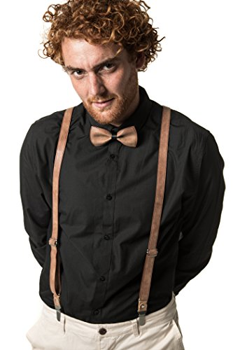 (Mio Marino adjustable KLOOPE Leather Suspenders for Men - Fashion Y Back Bowtie Suspender Set (Suede Rust, 48