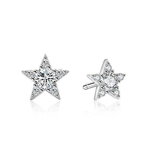 Lucky Star Rhodium Plated Sterling Silver Cubic Zirconia CZ Stud Earrings