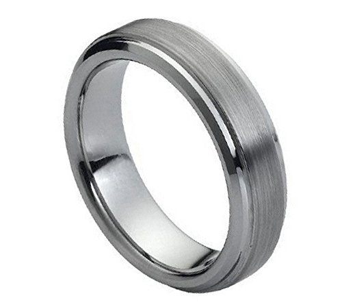 6mm Tungsten Carbide High polish Side cuts and Brushed finish Center design Wedding Band Ring For Men or (Center Design Wedding Band)
