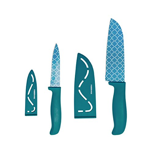 Farberware Resin 4-Piece Paring and Santoku Knife Set, 3.5-Inch and 5-Inch, Teal (Set Knife Piece 4 Kitchen)