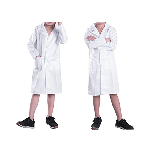 ACSUSS Unisex Children Long Sleeves White Lab Coat Halloween Doctor Surgeon Cosplay Costumes White -
