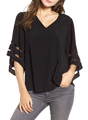 Charlotte Womens 3/4 Bell Sleeve V Neck Patchwork Blouse Casual Loose Shirt Tops Flare Sleeve Tops Bouse