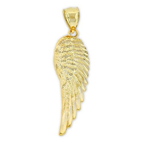 Charm America - Gold Angel Wing Charm - 10 Karat Solid (Gold Angel Wing Pendant)