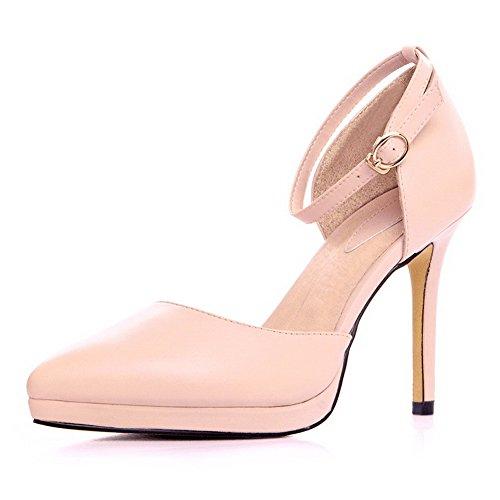 Amoonyfashion Kvinna Kick-häl Mjukt Material Fast Spännet Stängt Sandaletter Rosa
