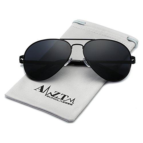 Glasses Black Frame Grey Lens - AMZTM Classic Double Bridge Metal Frame Polarized Lens Aviator Women and Men Sunglasses (Black Frame Grey Lens, 62)