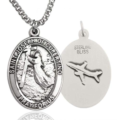 - Heartland Store Men's Sterling Silver Saint Joseph of Cupertino Oval Medal + 24 Inch 2.4mm Rhodium Plated Chain & Clasp
