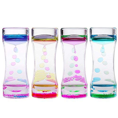 BESTOMZ 4 Pack Liquid Motion Timer Bubbler for Sensory Play, Fidgeting, Captivating Distraction