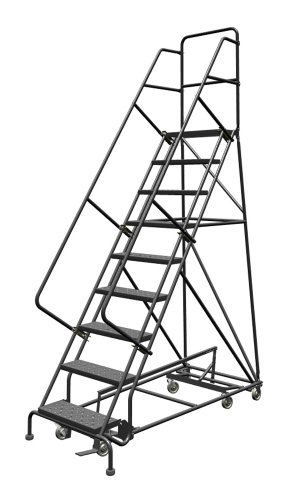 Tri-Arc KDED109246 9-Step All-Directional Steel Rolling Industrial & Warehouse Ladder with Perforated Tread, 24-Inch Wide Steps