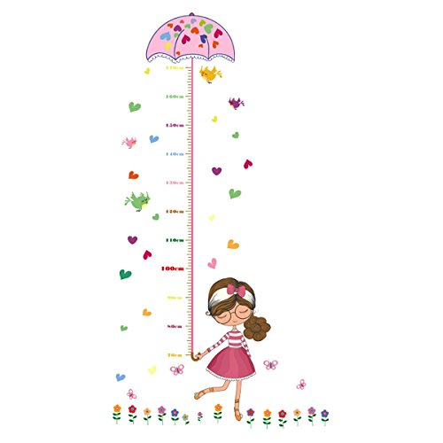 UNIQUEBELLA PVC Height Measurement Growth Chart for Kids Removable Nursery Wall Art Decals Stickers Cartoon Umbrella Wall Decorative for Girls Kid's Bedroom by UNIQUEBELLA