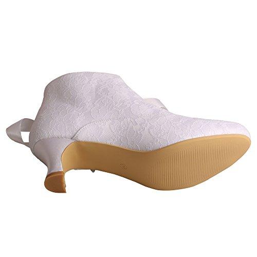 Damen Brautschuhe Stiefel Wedopus Lace Wei Heel Boots Short Elfenbein Low Hw4xnF6q7x