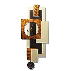 Statements2000 Bronze Hanging Wall Clock, Abstract Metal Wall Art Décor by Jon Allen Metal Art, Cream Tectonic, 32-inch
