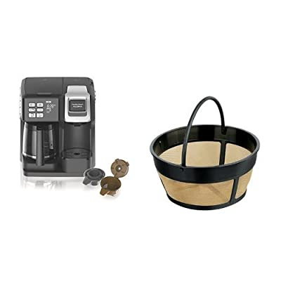 Hamilton Beach 49976 Flex brew 2-Way Brewer Programmable Coffee Maker, Black & Hamilton Beach Permanent Gold Tone Filter, Fits Most 8 to 12-Cup Coffee Makers (80675R/80675 )