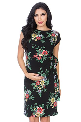 My Bump Womens Various Print Side Bow Tie Cap Sleeve Maternity Dress(Made in USA)