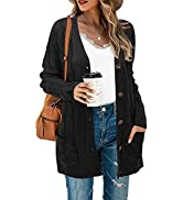 STYLEWORD Women's Long Sleeve Open Front Cardigan Button Down Cable Knit Sweater Loose Coat with ...