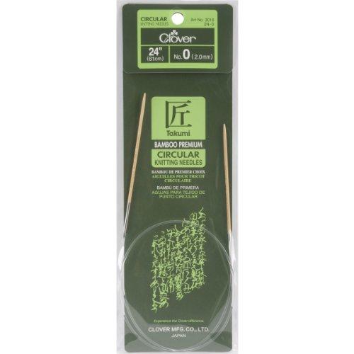 Clover Bamboo Circular Knitting Needles Takumi, 24-Inch Size 0