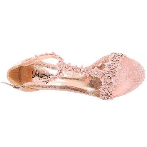 Unze La tarde media del alto talón del dedo del pie del Peep Toe de la correa del tobillo de Diamante de las mujeres de las nuevas mujeres 'Carzrose', Wedding, favorece los tamaños 3-8 Melocotón