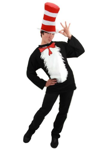 [Cat in the Hat T-Shirt Kit Costume - Small/Medium - Chest Size 38-40] (Cat Costume Ideas Adults)