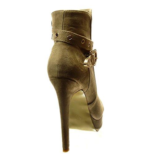 Angkorly - Zapatillas de Moda Botines zapatillas de plataforma sexy mujer perforado Hebilla Talón Tacón de aguja alto 15.5 CM - plantilla Forrada de Piel - Beige