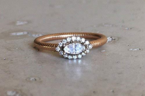 (Marquise Diamond Promise Ring- Diamond Engagement Ring- Halo Rose White Gold Diamond Ring- Ribbed Band Ring)