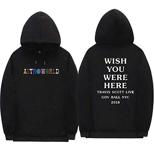 Travis Scott Astroworld Hoodies Letter Print Hoodie Streetwear Man Woman Pullover Sweatshirt,Black XMS65,XL