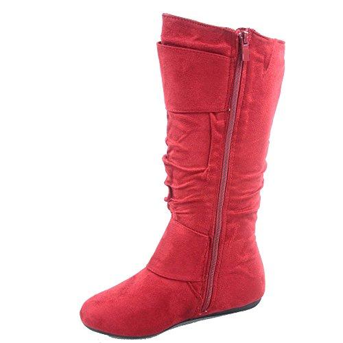 Top Moda Bank-81 Damenmode runde Zehe flache Ferse Reißverschluss Schnalle Slouchy Mid-Calf Boot Shoes rot