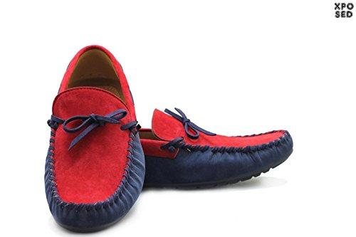 Imitation daim pour homme Bleu/Rouge Loafers dérapant ons Bateau-Chaussures-Mocassin-Taille 39–45