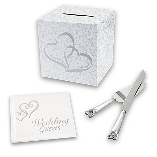 Wedding Accessories Set with Silver Hearts, 4-Piece Set Includes Guest Book, Cake Cutting Knife, Cake Server, and Gift Card (Wishing Well Wedding Reception)