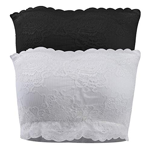 diwollsam Strapless Bra, Women's Girl's Holiaday Gift Boob Pad Seamless Breathable Sexy Push up Sports Yoga Hiking Travel Comfort Lightweight Chest Wrap Bandeau Bra(Black Lace x1, White Lace x1)