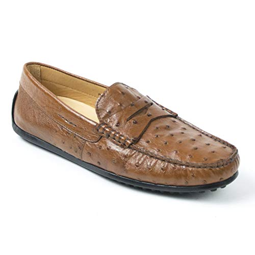 Brandy Ostrich (Zelli Monza Ostrich Quill Loafer Shoes (9M, Brandy))