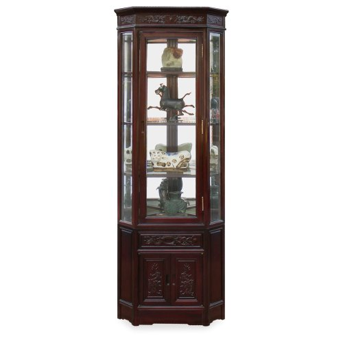 - Hand Carved 20in Dragon Motif Rosewood Corner Cabinet - Dark Cherry