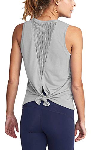 Womens Sexy Tie Back Mesh Tank Tops Workout Exercise Shirts Activewear for Women Grey M (Mesh Womens Tie)