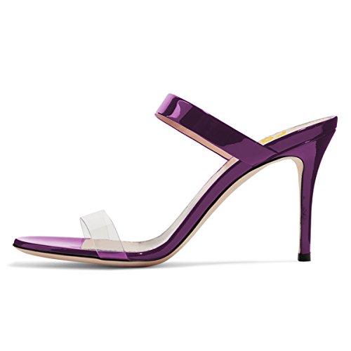 Fsj Donne Strappy Chiaro Open Toe Sandali Stiletto Tacco Alto Muli Scarpe Da Festa Sexy Taglia 4-15 Us Purple