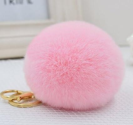 Amazon.com   Minigianni Pink Fluffy Genuine Rabbit Fur Ball with 18K ... 105be2cee541