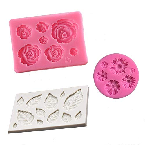 Jasonsy 3 Pcs Flower Fondant Molds Set-Rose Flower,Daisy Flower and Leaf Silicone Mold for Cake Decoration,Cupcake Topper,Polymer Clay,Crafting,Chocolate,Resin Epoxy,Jewelry Making (1)