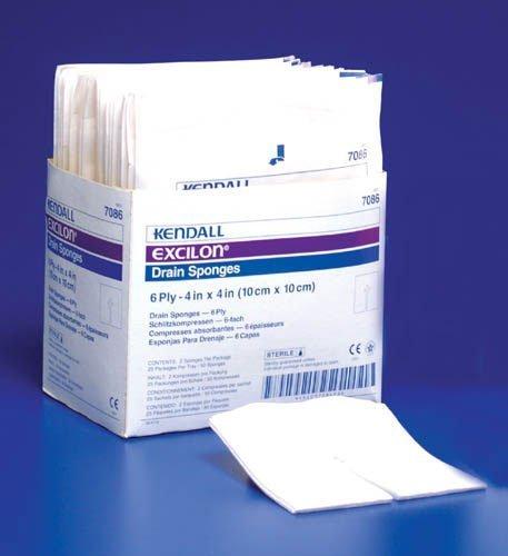 Kendall Excilon Split Drain Sponges - Sterile 6 Ply 4'x4', 2/pk - 50/bx ()