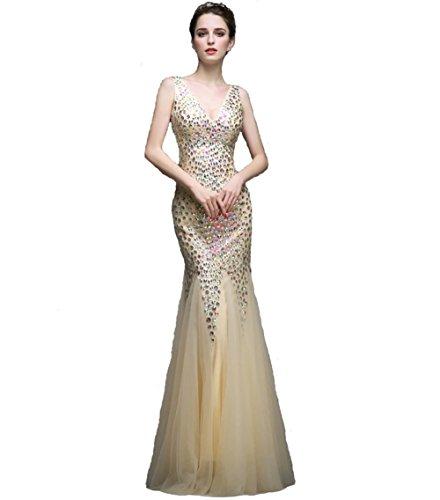 Vestido De Cuello Dorado Noche Prom Rxthdscq