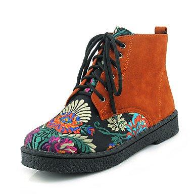 con punta con otoño Tacón de Botines nubuck para EU33 RTRY redonda Bootie Botines Botines Zapatos CN32 UK1 de Cuero cordones moda 5 US3 mujer 5 Botas invierno grueso Flor wRaTOq