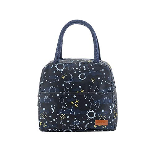 Debispax Reusable Lunch Bags,Lunch Bag Tote Bag Adult Cute Igloo Floral Lunch Boxes Insulated Lunch Bag containers LunchBox for Women/Men/Office/School,Dark Star
