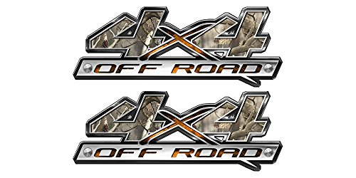 (Speed Demon Hot Rod Shop 4x4 Off Road Decal ~ Traditional Camouflage 4WD (Set of 2) Truck Stickers BLO4 )