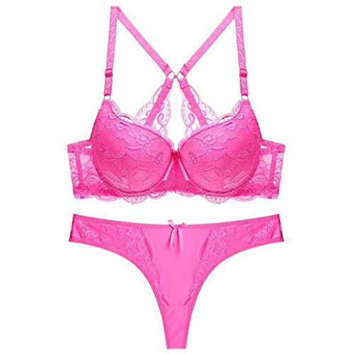 ALLYOUNG #18130 Women's Side Support Contour Sexy Lace Bra Female Underwire Lingerie Bras Underwear (Hot Pink, 90)