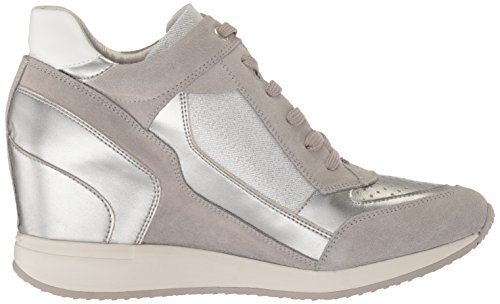A Femme lt Baskets Nydame Geox silver D Grey Hautes Argent RnSaxgW