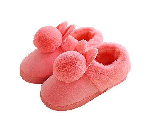 Rojeam Lapin Mesdames en Peluche Pantoufles Femmes Rouge Glisser Les Pantoufles nouveauté Filles Chaudes sur Hommes xxZwr