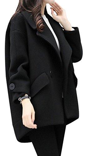 Solid Color Coat Outerwear Black - 3