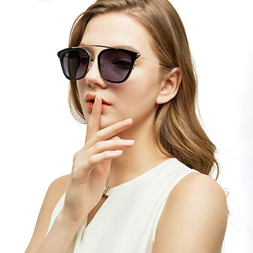 LotFancy Vintage Square Sunglasses for Women with Case, UV400 Protection, 52MM, Retro Black Plastic Rimmed Eyewear for Driving Fishing Sports, Grey Gradient Lens, Gold Metal Brow Bar ()